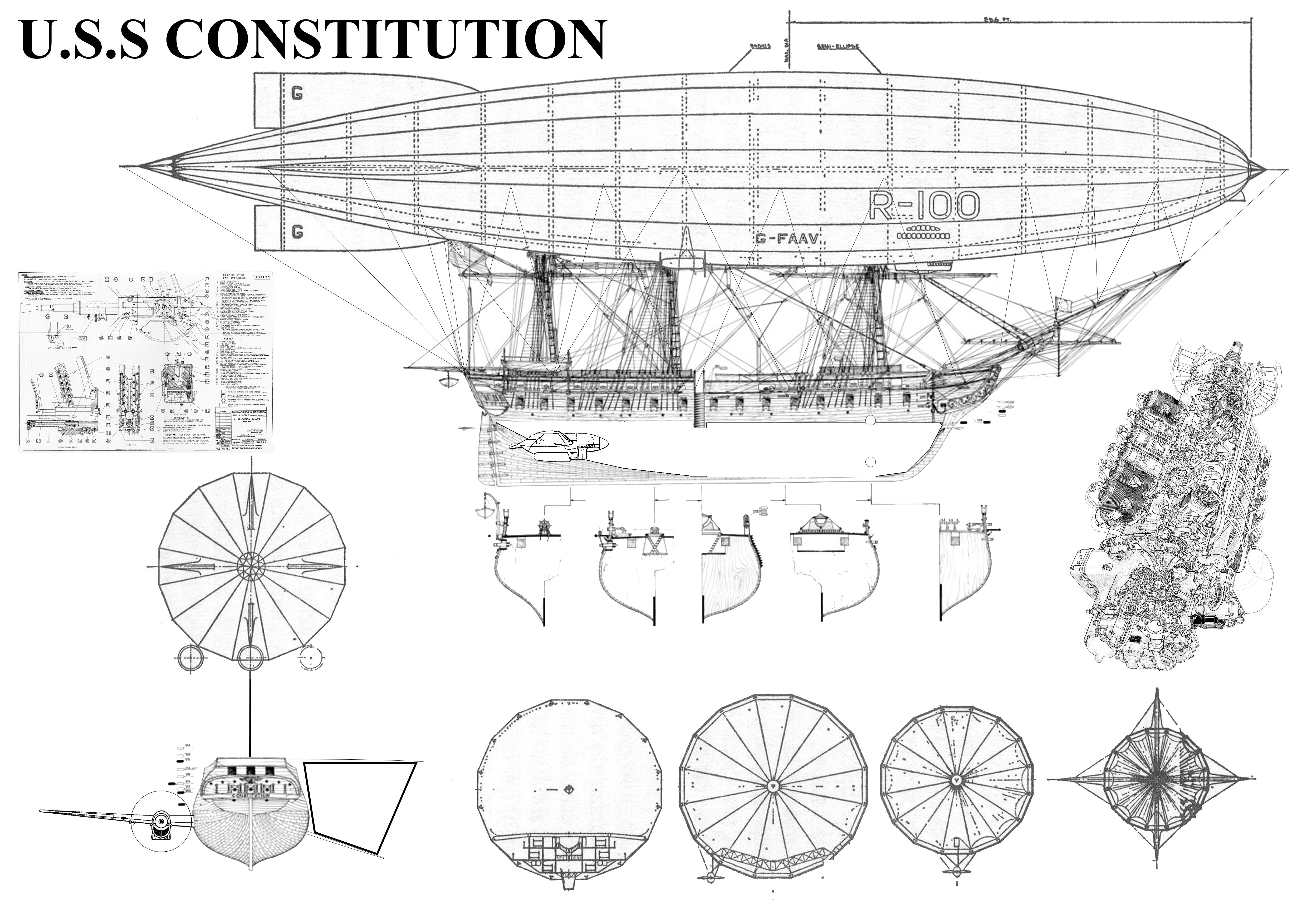 Airship U S S Constitution Blueprint