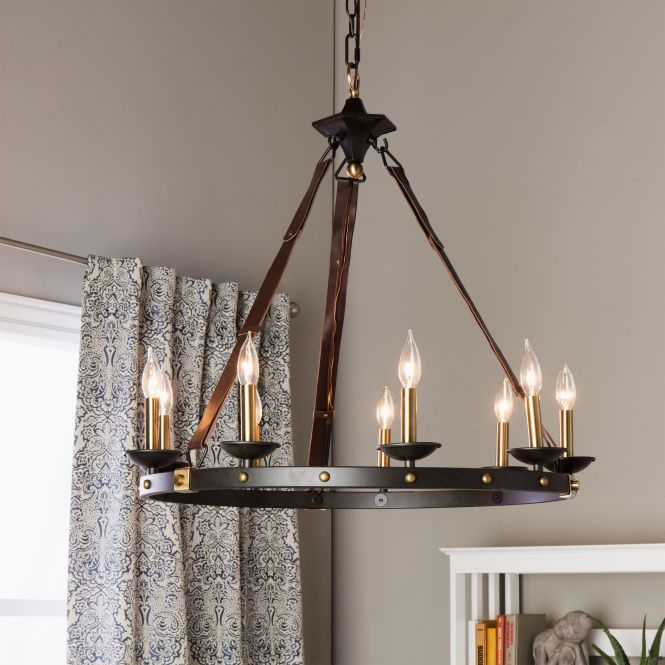Rustic Meets Contemporary In This Beautiful Cavalier Chandelier The Frame Showcases A Large Black Metal Ring Suspended From Leather Straps And Supporting