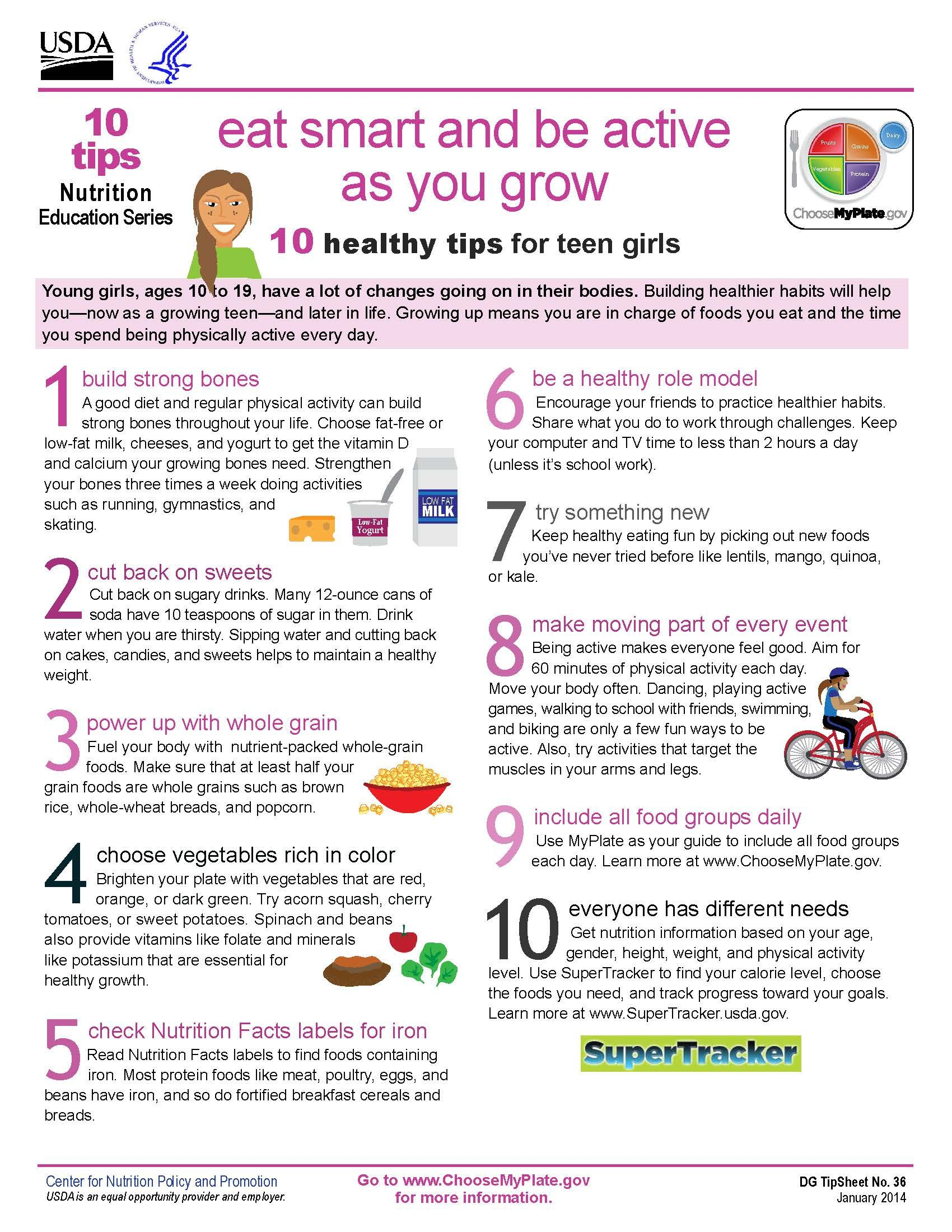 New 10 Tips On Teen Girls Health Eat Smart Amp Be Active