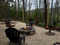 Our Patio ~ Pea gravel, Gas fire pit, cafe lights | Fire ...