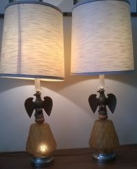 VINTAGE AMBER GLASS & BRASS EAGLE LAMPS with SHADES