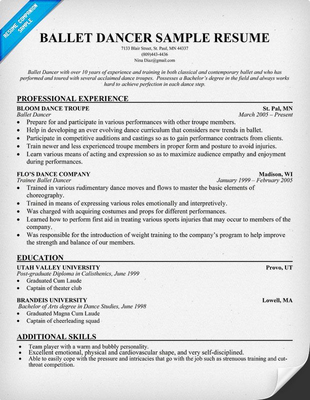 Dancer Resume Example Dancer Resume Samples Visualcv Resume