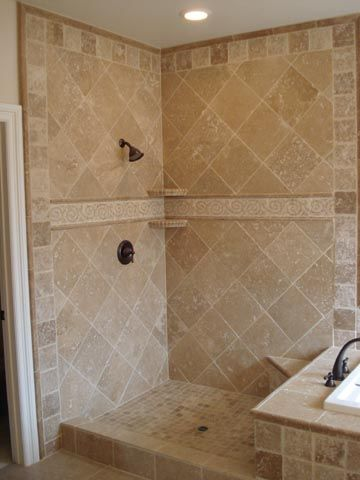 Travertine Shower On Pinterest Girls Canopy Beds