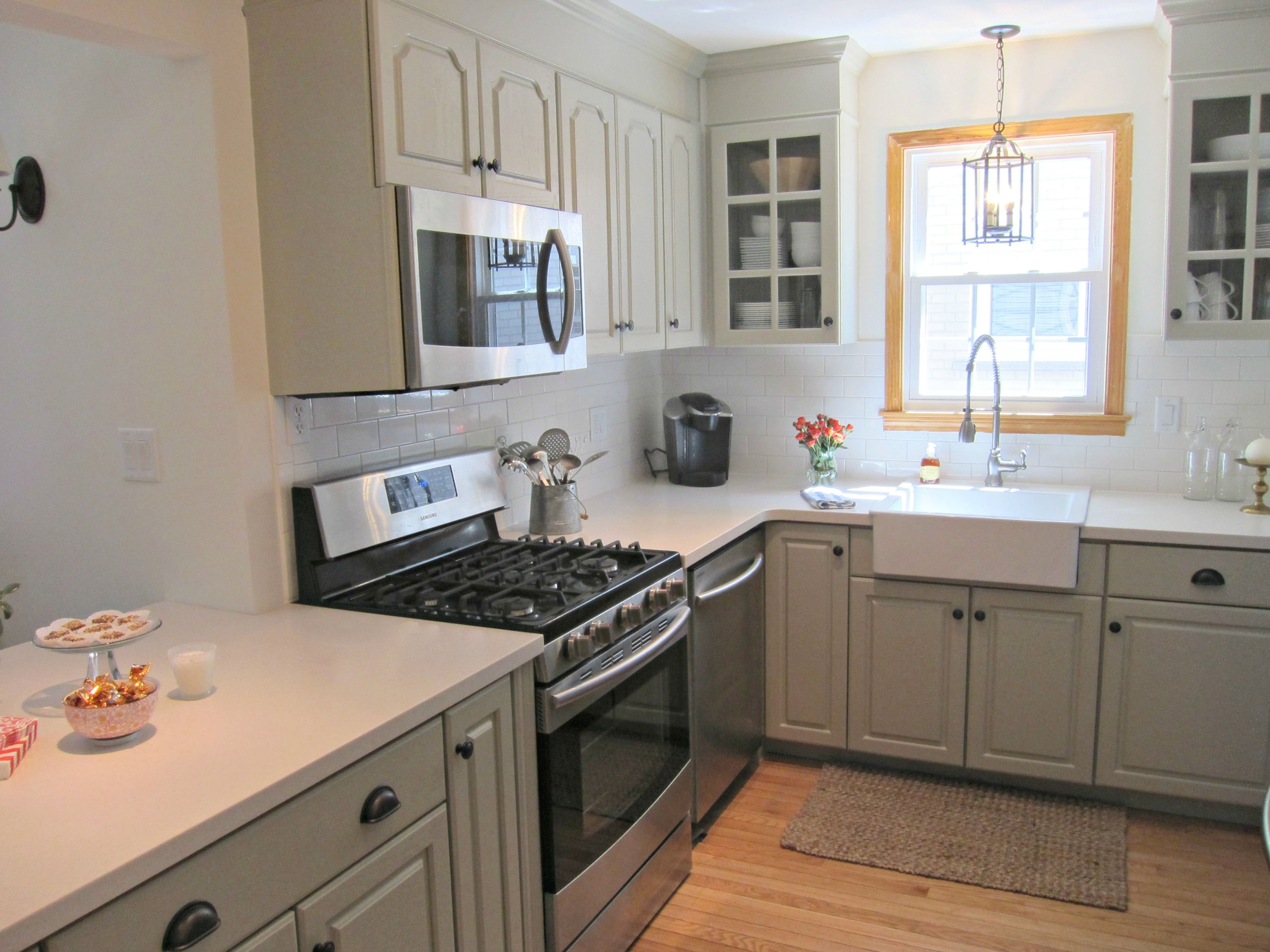 white corian kitchen countertops 42 cabinets linen counters gray farmhouse sink our