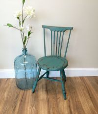 Teal Chair, Primitive Furniture, Small Accent Chair ...