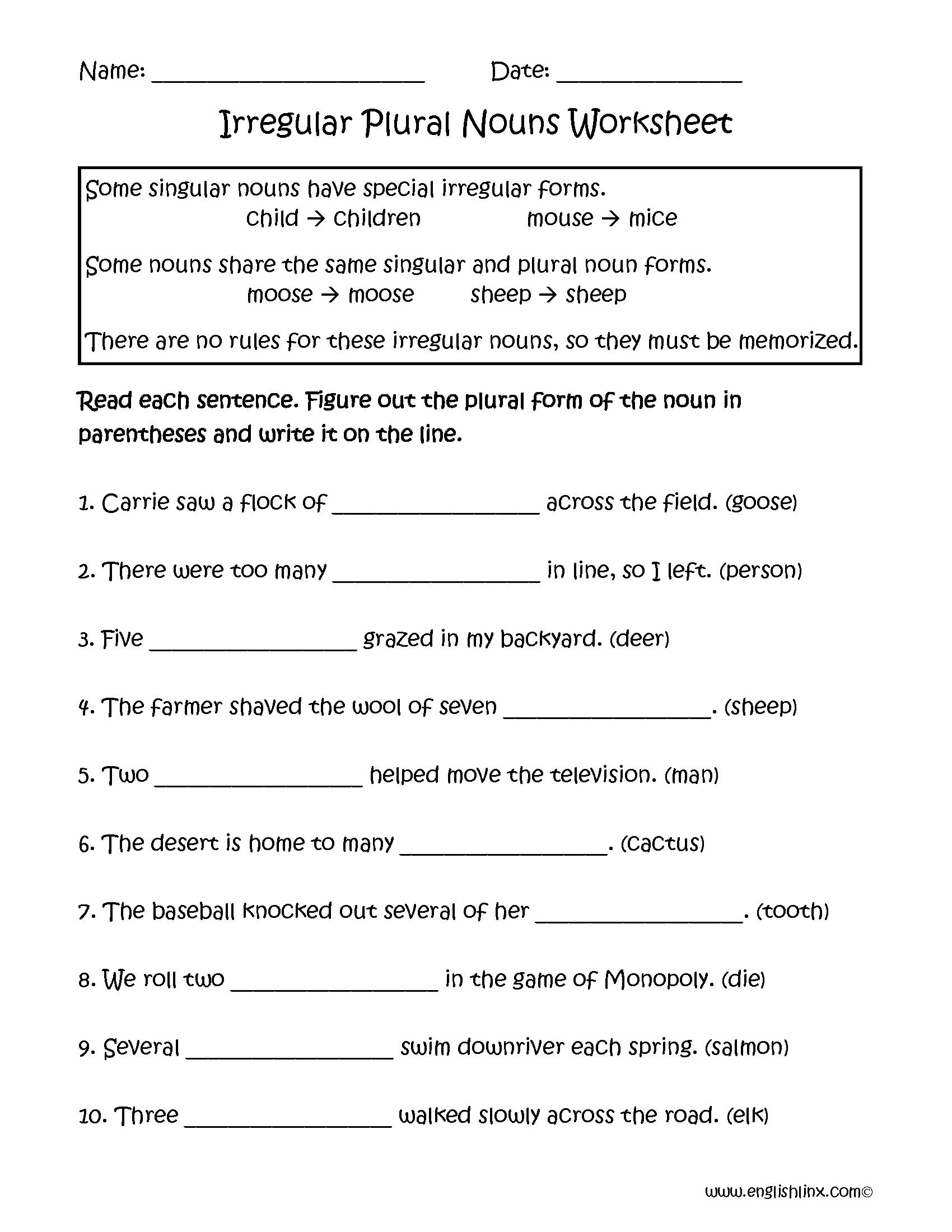 Irregular Plural Nouns Worksheets