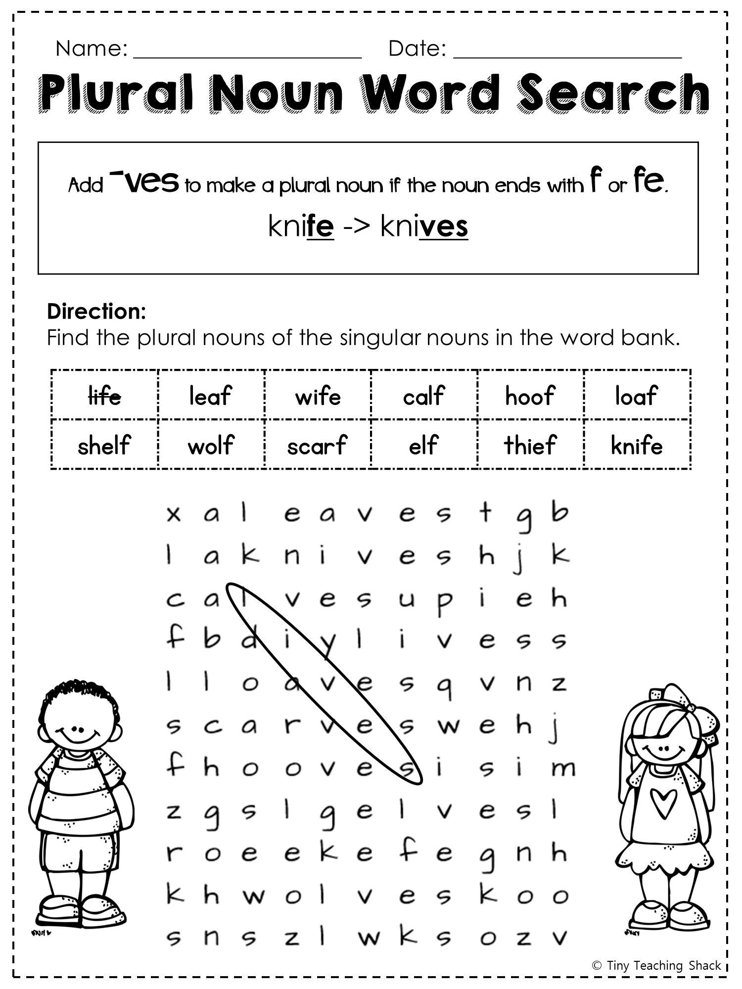 Free Irregular Plural Noun Word Search