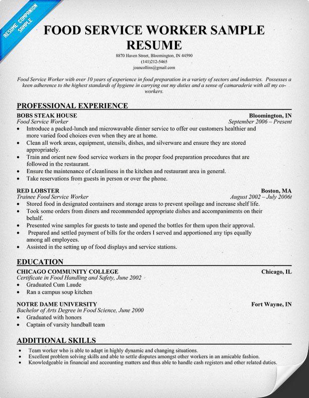 Food Service Worker Resume Resume Samples Across All Industries