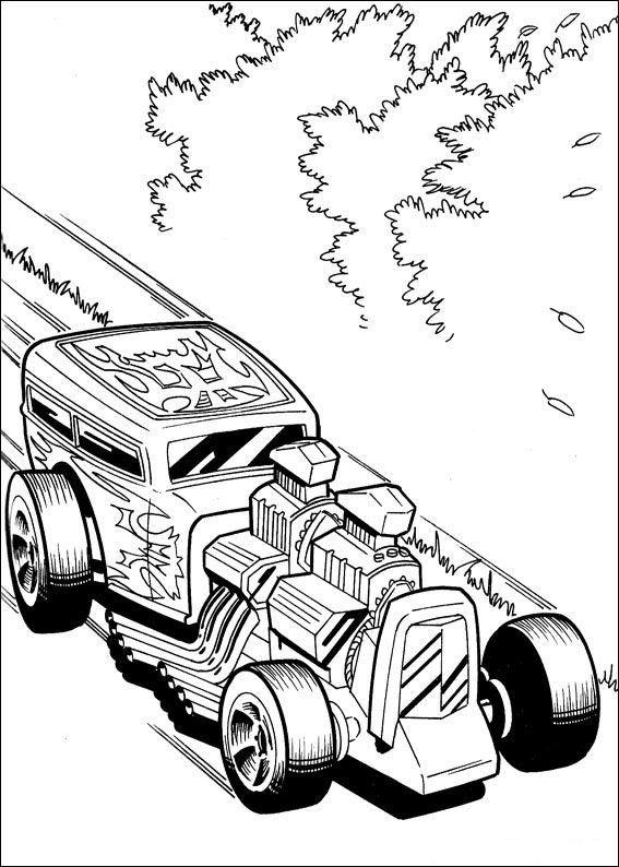 Hot Wheels Fargelegging for barn. Tegninger for utskrift