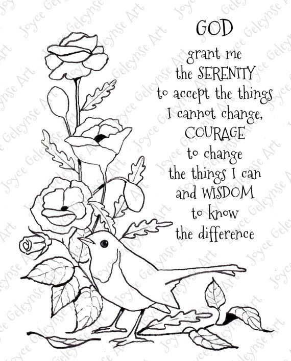 Digi Stamp Clip Art, Serenity Prayer, Bird, Flowers, You
