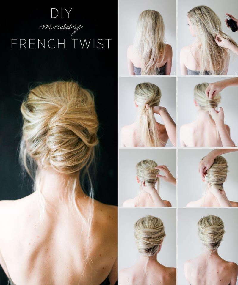 Simple DIY Spring Summer Hairstyle Messy French Twist Hair