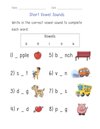 Short Vowel Sounds Worksheet