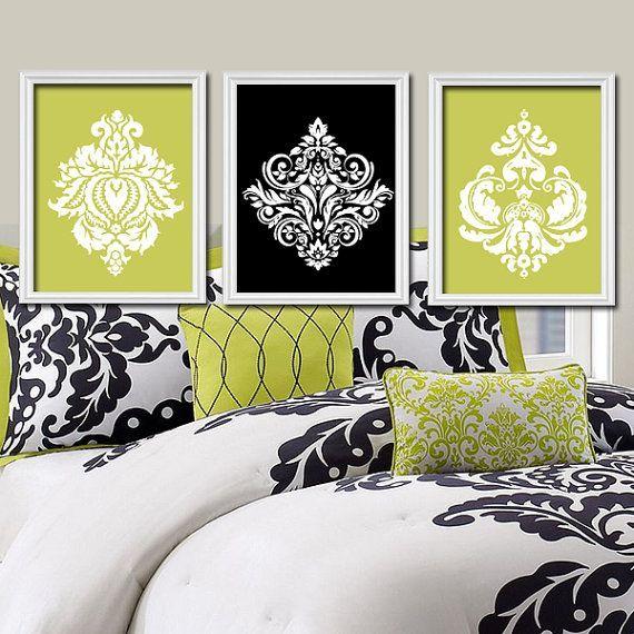 Lime green black white damask ornamental design artwork set of trio prints wall decor abstract art bedroom bathroom silhouette for guest also rh pinterest