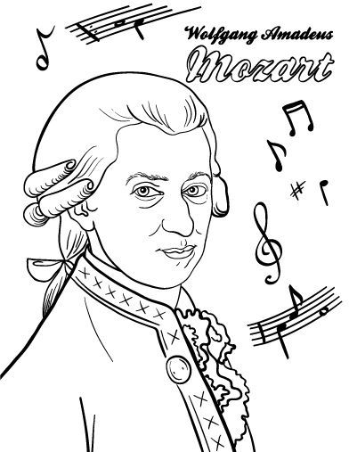 Printable Mozart coloring page. Free PDF download at http