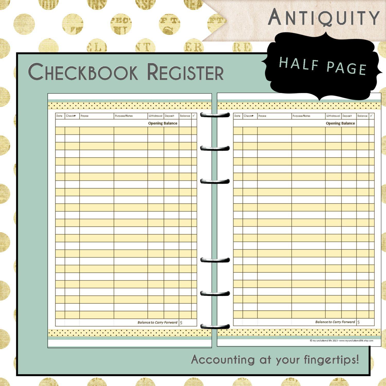 Us Half Page Printable Checkbook Register By Myunclutteredlife