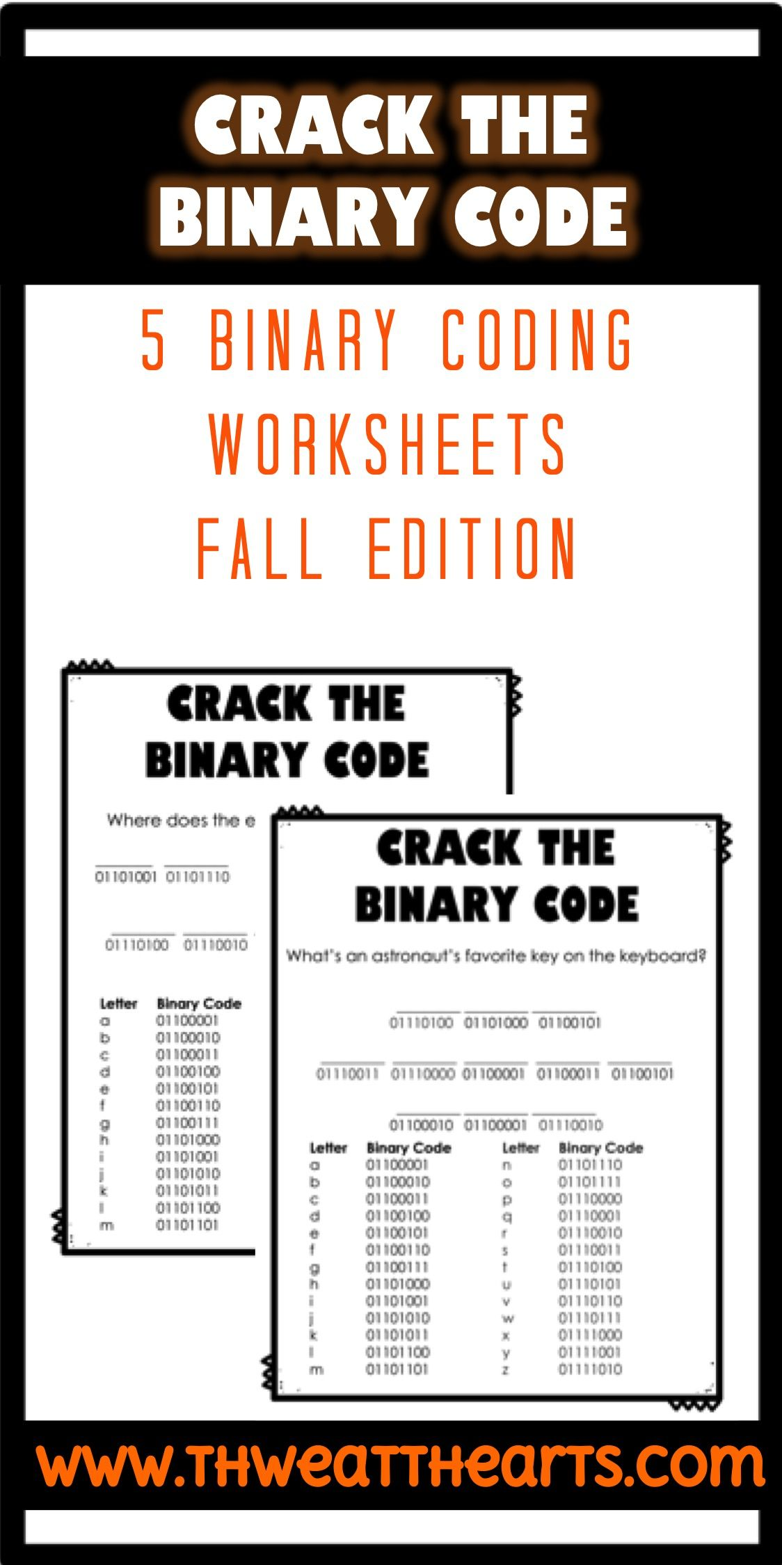 Crack The Binary Code Fall Worksheets