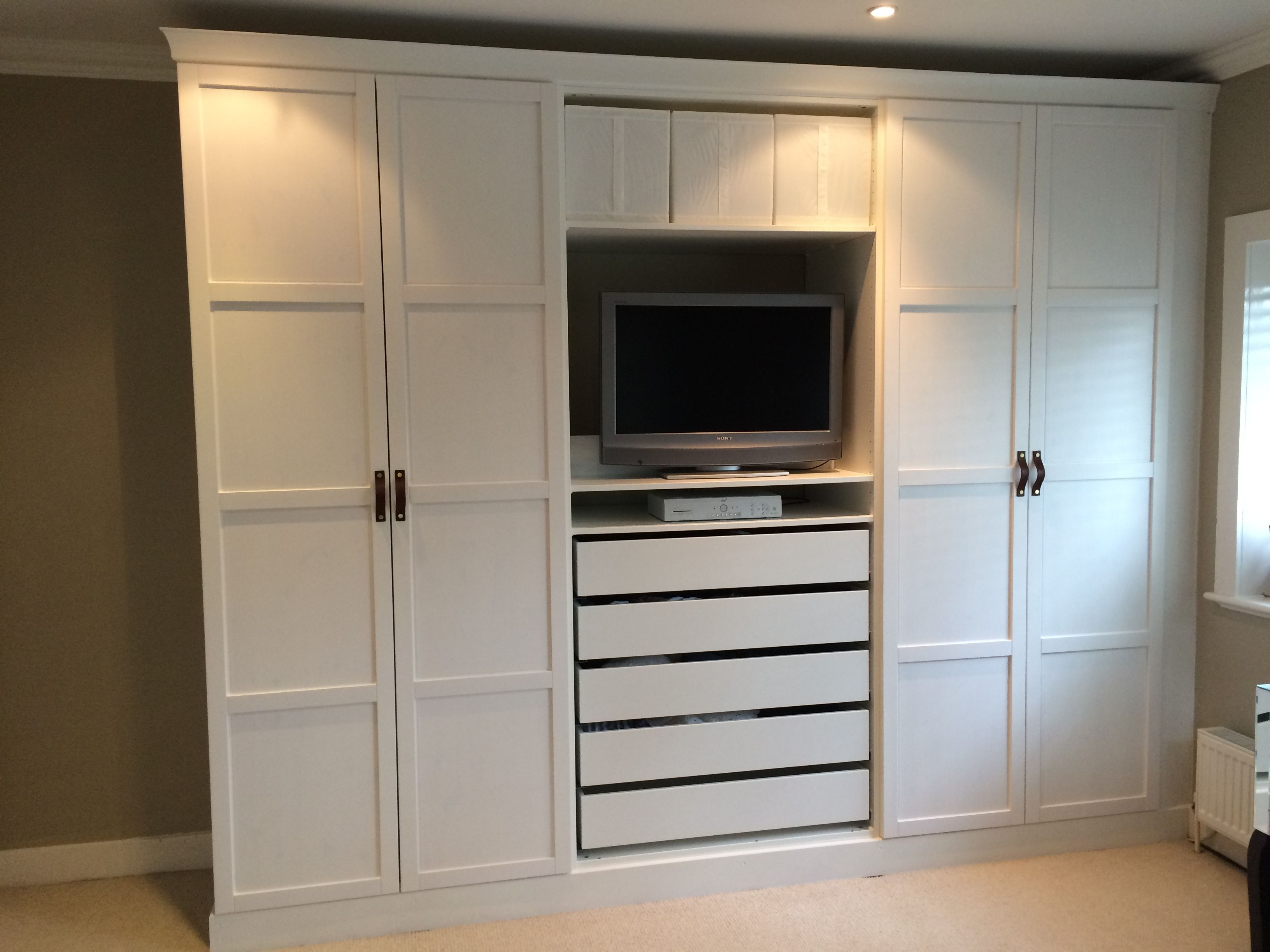 Ikea Pax Wardrobes Hacked To Look Built In With Leather