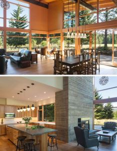Inside this modern wood cabin large floor to ceiling windows fill the main also family vacation house was designed with entertaining in mind rh za pinterest