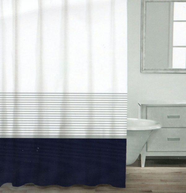 Caro Home Cotton Shower Curtain Wide Stripe Navy Blue Silver White Nautical Stripes