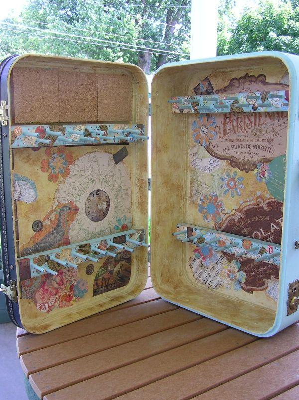 Honey Girl Studio . Suitcase Turned Jewelry Display