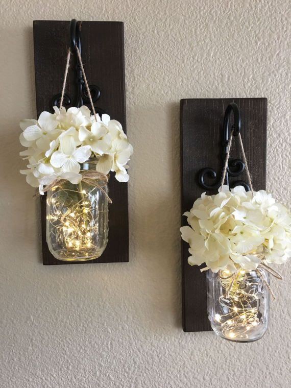 Set of mason jar wall sconces sconce decor country farmhouse also rh pinterest