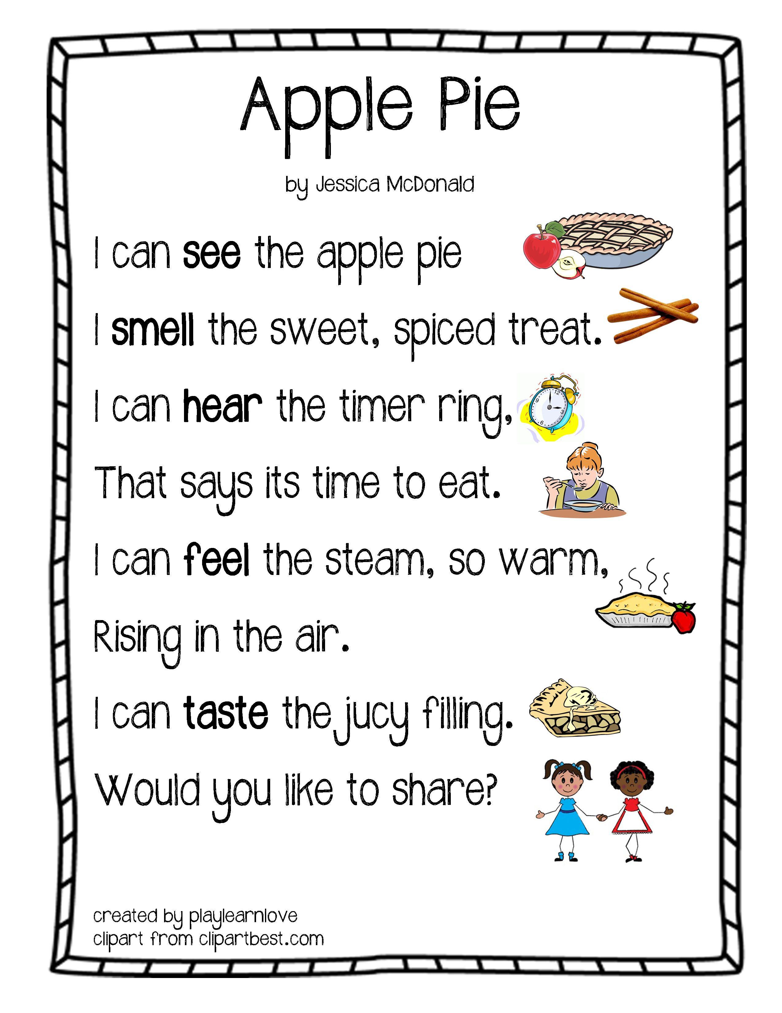 Apple Pie Five Senses Poem