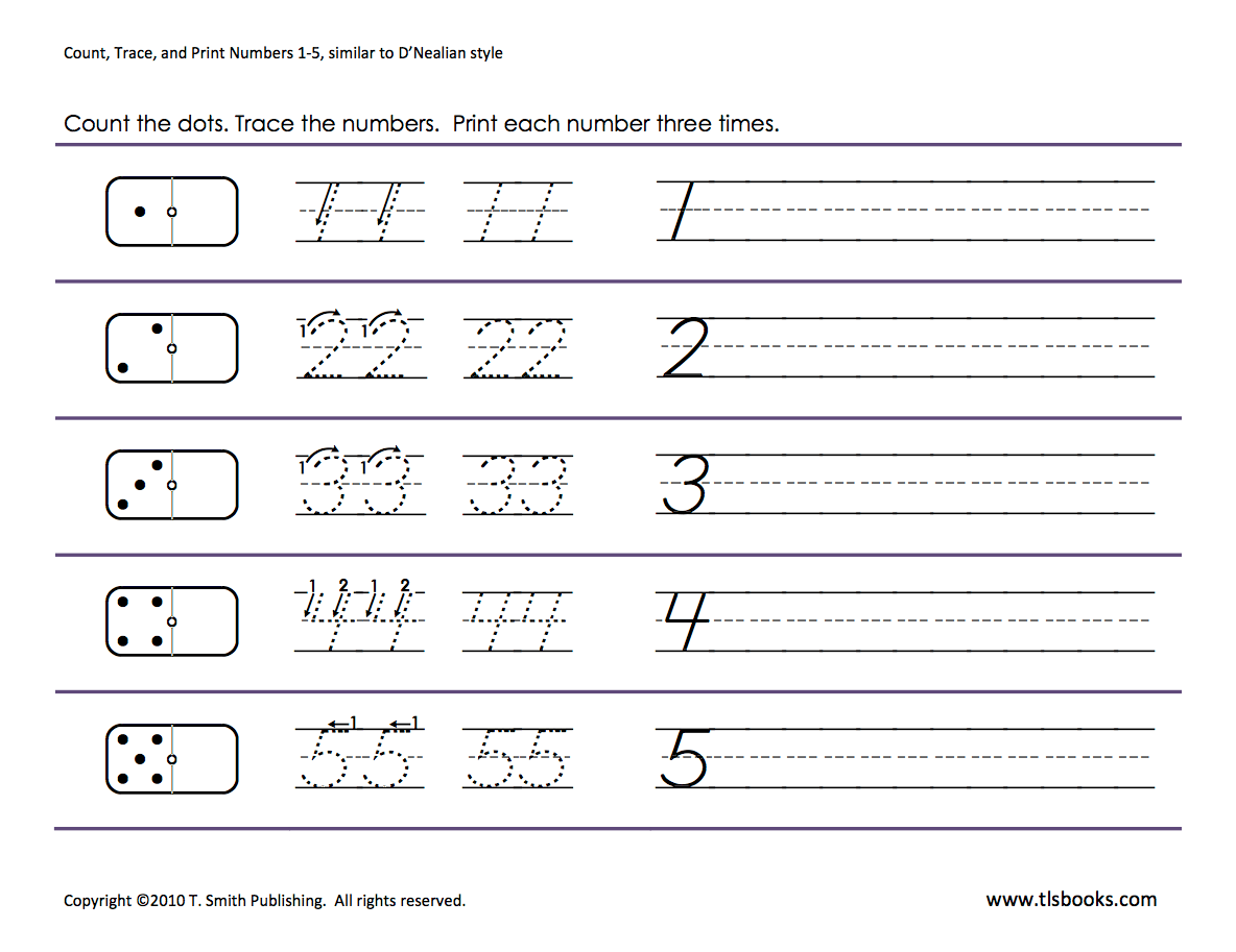 Numbers Tracing 1 5