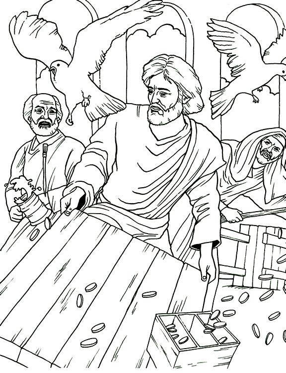 Jesus clearing the Temple of money-changers, who wickedly