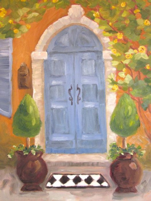 Original Oil Painting Welcome Home Blue Door By Kimpetersonart 98 00
