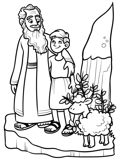 Abraham And Isaac Coloring Page Sketch Coloring Page
