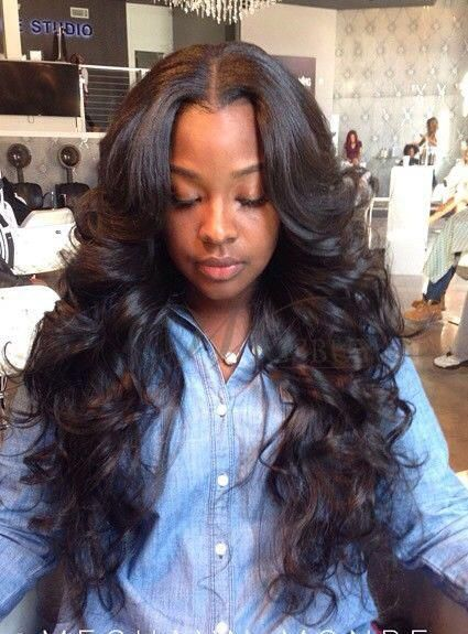Wavy Weave Hairstyles With Side Part Google Search ᴴᴬᴵᴿ