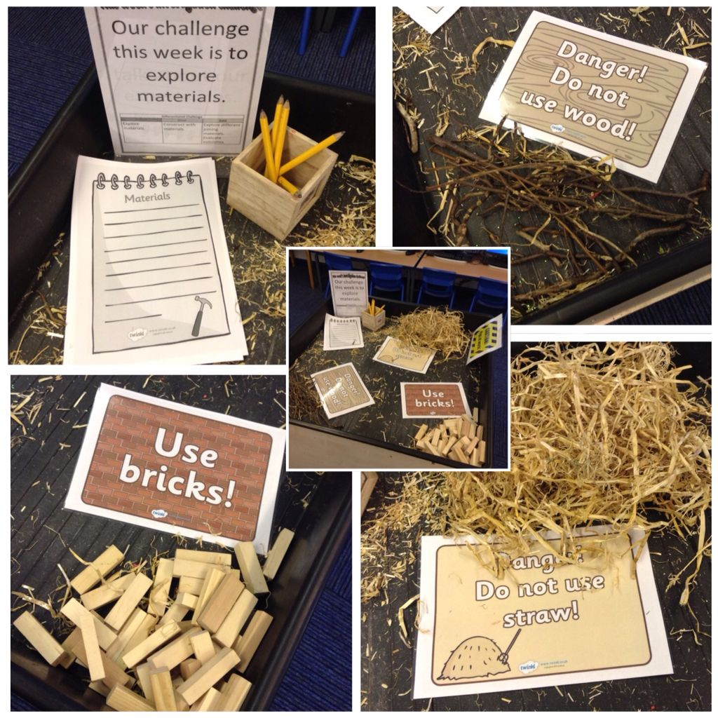 Three Little Pigs Inspired Investigation Area Materials