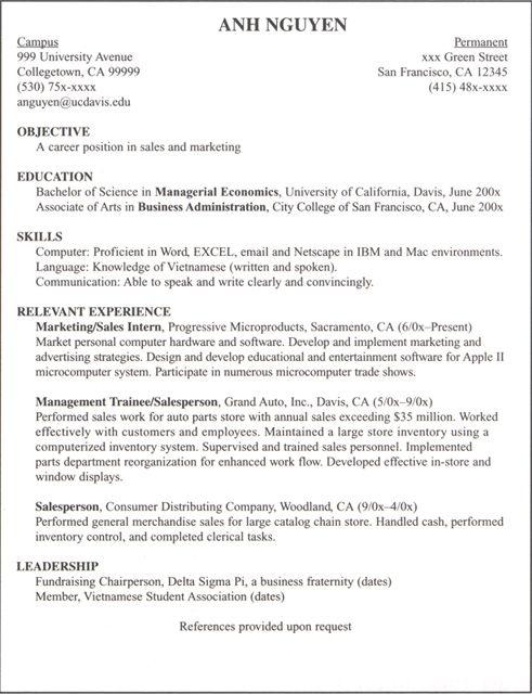 ffa job interview resume examples