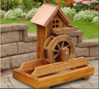 Amish Water Wheel Fountain Wooden Garden Yard Decor New ...