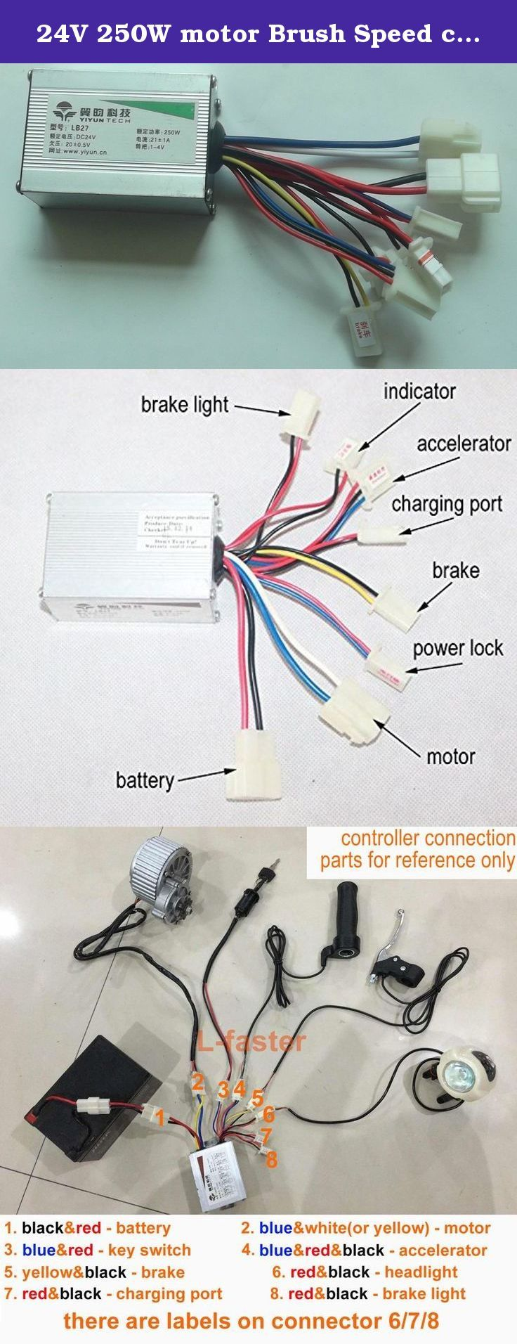 hight resolution of  9cb80219f9d0f2c4e4c59bb2df6f9e9f 24v 250w motor brush speed controller for electric bike bicycle 24 volt scooter wire diagram