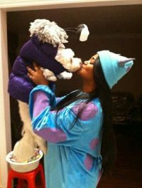 DIY halloween / dog costume - Monsters Inc. Sulley & Boo ...