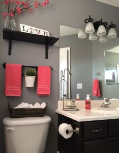 Like the idea for over toilet in our half bath kohls towels shower curtain home depot anonymous gray paint hobby lobby decor ikea shelves also my bathroom remodel love it rh pinterest