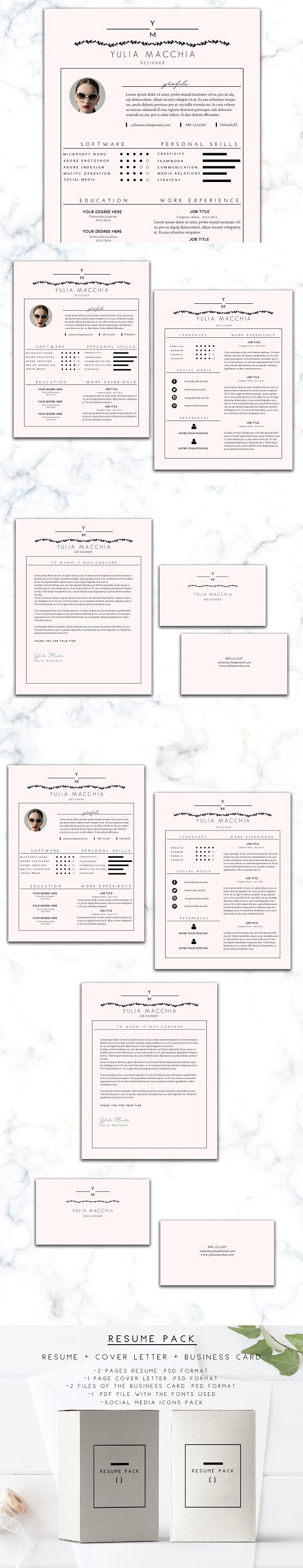 Resume Package. Creative Business Card Templates
