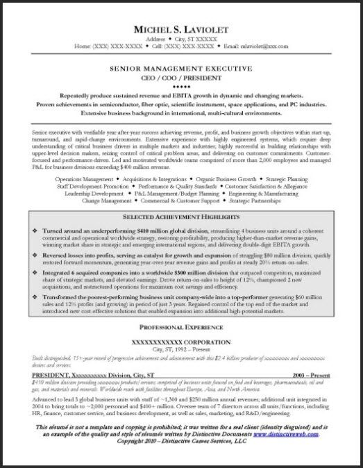 CEO #Resume Example Page 1 Resume Examples Pinterest