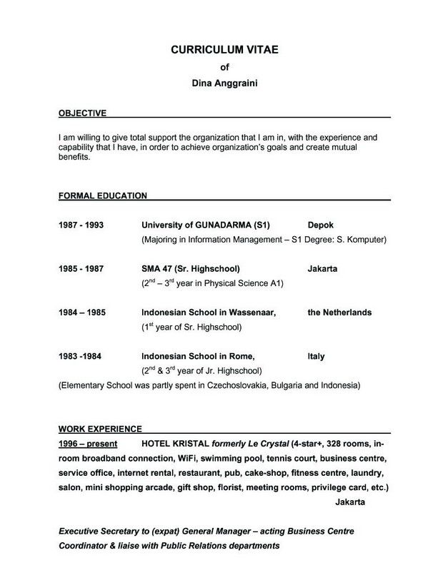 Example Of A Good Resume Objective - Examples of Resumes
