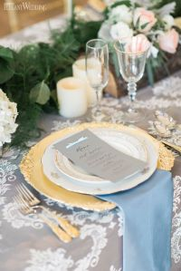 Rose quartz and serenity wedding table setting, place ...