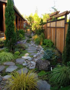 Scapes unlimited installed the baxters  garden laid flagstone and placed dry creek also rh pinterest