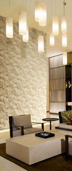 Cool textured wall panels  light pendants more also pinteres rh pinterest