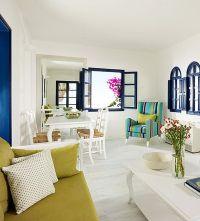 santorini interior design. White and bright colour decors ...