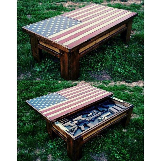 American flag coffee table hidden gun case house ideas