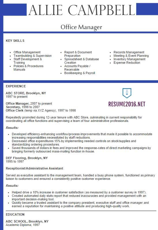 Best Sample Resume 2016 Sample Resumes Sample Resumes