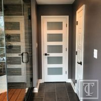 Frosted Glass Five Panel Entry Door | Rustic Contemporary ...
