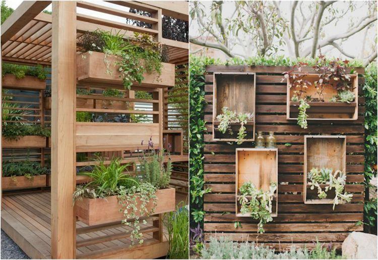 Sichtschutz und Pflanzkasten aus Holz  GartenIdeen  Pinterest  Pflanzkasten Sichtschutz und