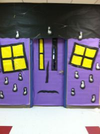 Haunted house door decoration for Halloween covered with ...