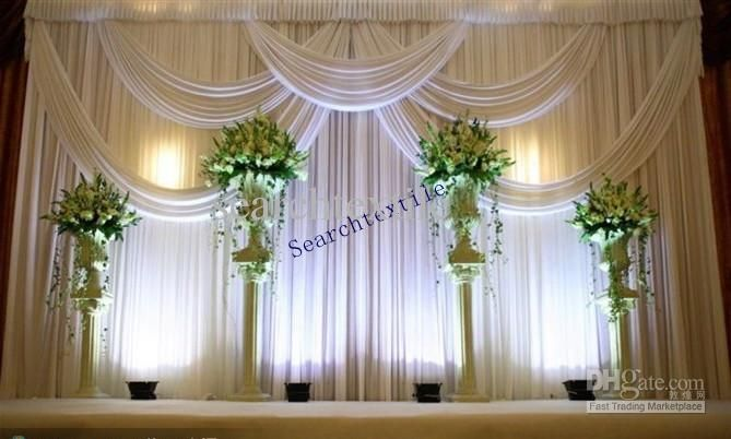 2017 Top Sale Wedding Backdrop Curtain In White Color Stage